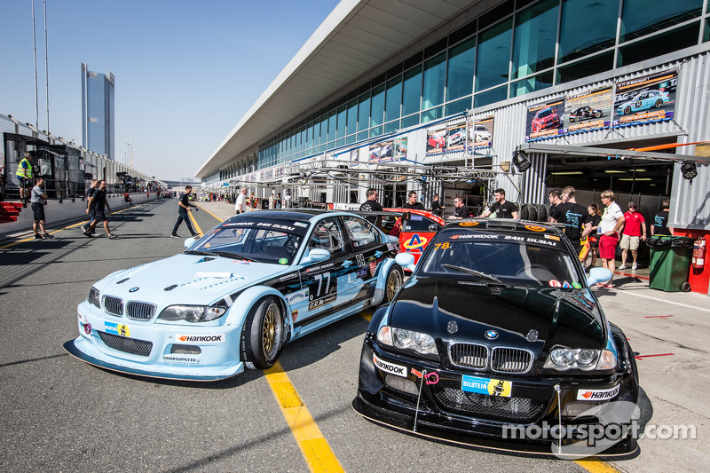 #77 JR Motorsport BMW E46 GTR and #78 JR Motorsport BMW E46 GTR