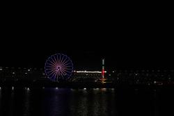 The ferris wheel at night