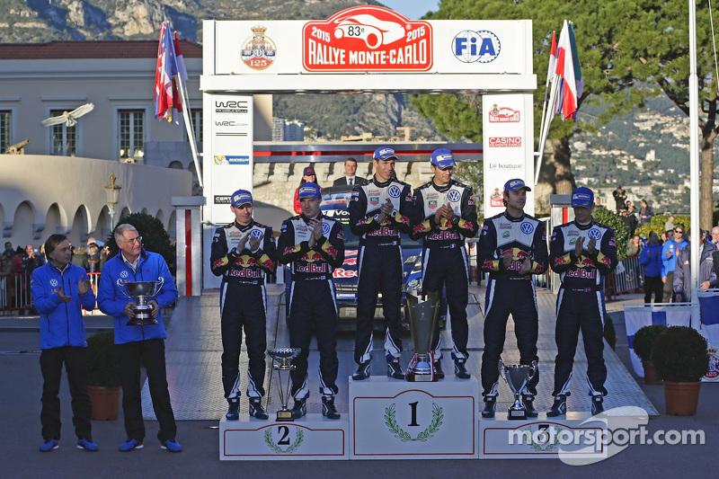 Podium: 2. Jari-Matti Latvala, Miikka Anttila, 1. Sébastien Ogier, Julien Ingrassia; 3. Andreas Mik