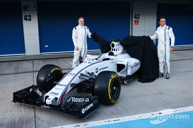 (da sinistra a destra): Valtteri Bottas, Williams e il compagno di squadra Felipe Massa, Williams svelano la Williams FW37