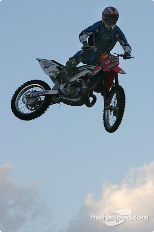 Freestyle motocross show: daring figures