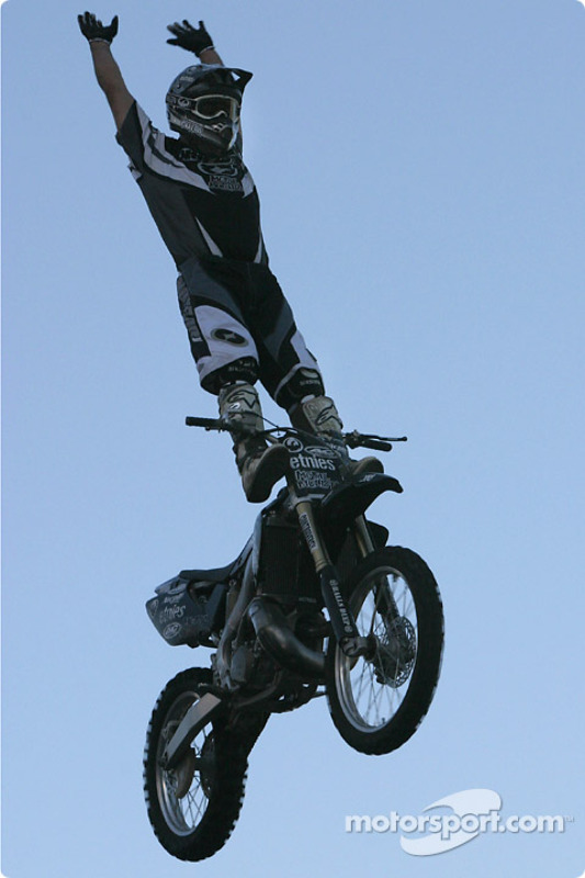 Freestyle motocross show: daring figures