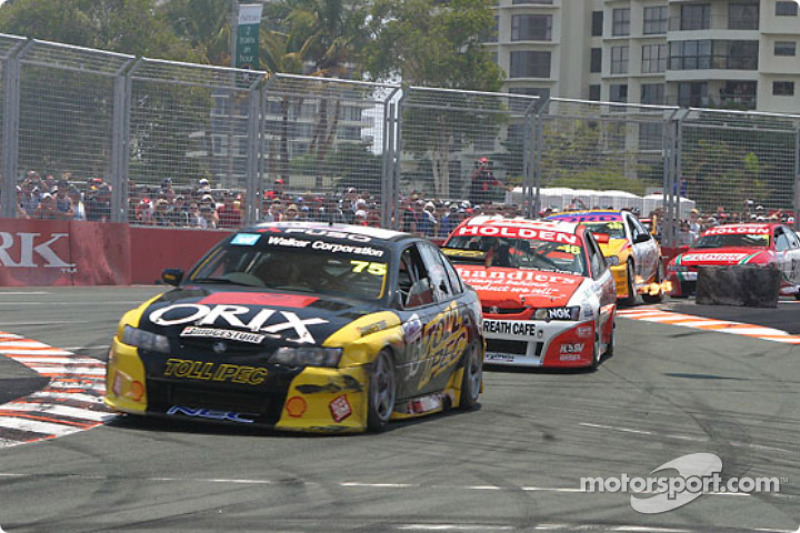 Anthony Tratt leads a group of cars