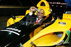 Tokyo Sexwale (RSA) Chairman of Mvelaphamda Holdings and A1 Grand Prix South Africa seat holder gets a taste of what it is going to be like behind the wheel of this A1 Grand Prix Car