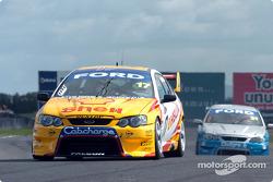 Steven Johnson and Steven Ellery on pit straight