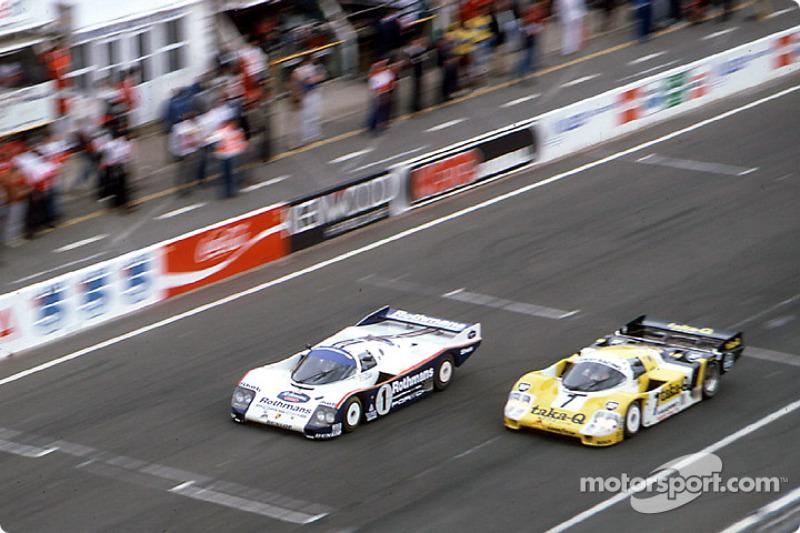 #1 Rothmans Porsche Porsche 962C: Hans-Joachim Stuck, Derek Bell, Al Holbert, #7 Joest Racing Porsche 956: Klaus Ludwig, Paolo Barilla, John Winter