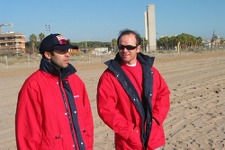 Toyota Challenge team driver Manuel Marques Paulo and co-driver Benedi Rui Rodrigues inspect the special stage in Barcelona