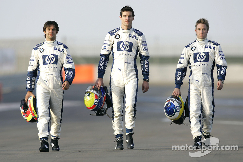 Pilotos de BMW WilliamsF1 Antonio Pizzonia, Mark Webber y Nick Heidfeld