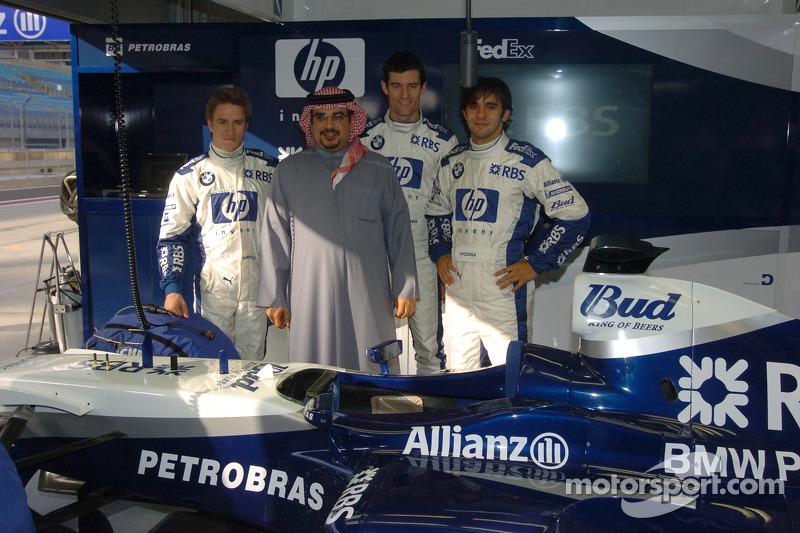 Antonio Pizzonia, Mark Webber y Nick Heidfeld con el príncipe heredero de Bahrein