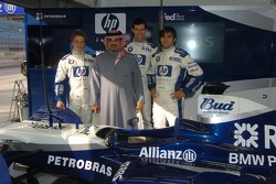 Antonio Pizzonia, Mark Webber and Nick Heidfeld with the Crown Prince of Bahrain