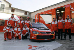 Mitsubishi Motors Motor Sports presentation: Harri Rovanpera, Risto Pietilainen, Gilles Panizzi, Hervé Panizzi, Gianluigi Galli and Guido D'Amore with the team