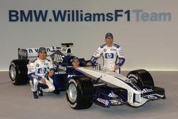 Antonio Pizzonia, Nick Heidfeld and Mark Webber with the new Williams BMW FW27