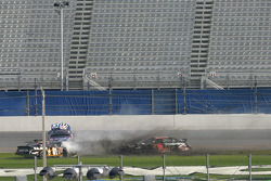 Joe Nemechek, Rusty Wallace and Kevin Harvick in the wreck