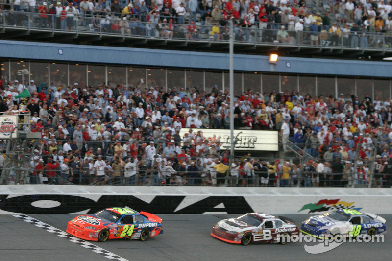 Another restart: Jeff Gordon leads Dale Earnhardt Jr. and Jimmie Johnson