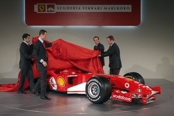 Michael Schumacher, Rubens Barrichello, Luca Badoer and Marc Gene present the new Ferrrari F2005