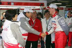 Ralf Schumacher meets Toyota Motor Corporation Chairman Hiroshi Okuda and Dr Akihiko Saito