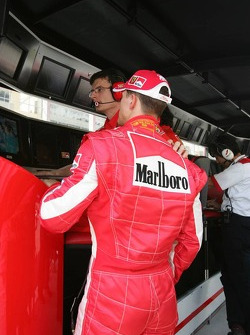 Michael Schumacher at pitwall