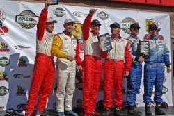 GT podium: class winners Joey Hand and Bill Auberlen, with Marc Bunting, Andy Lally, and Craig Stanton, David Murry