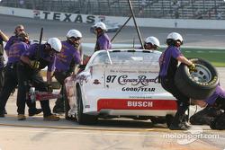 IROC crews work on Kurt Busch's car