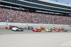 Ryan Newman and Jeremy Mayfield lead the field on pace laps