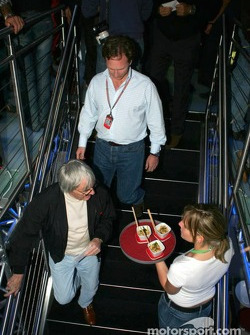 Bernie Ecclestone visits the Red Bull Racing hospitality area