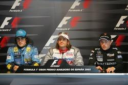 Saturday press conference: pole winner Jarno Trulli with Fernando Alonso and Kimi Raikkonen