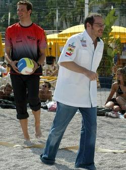RTL beach volley match: Jacques Villeneuve and Alexander Wurz