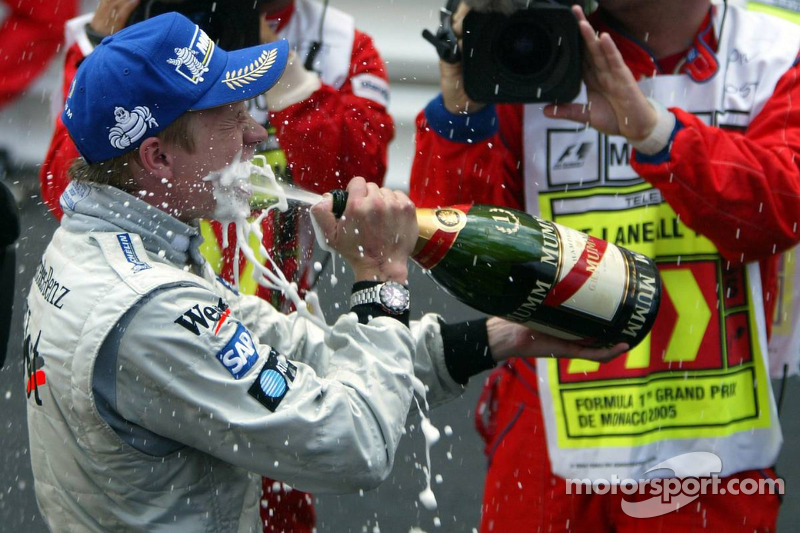 Champagne for race winner Kimi Raikkonen