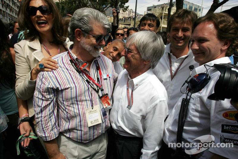 George Lucas, Bernie Ecclestone y Christian Horner