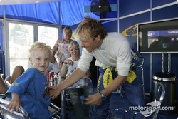 Petter Solberg plays with his son Oliver