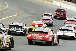 The pace truck takes the second group around the track
