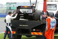 Car of David Coulthard stopped on the track