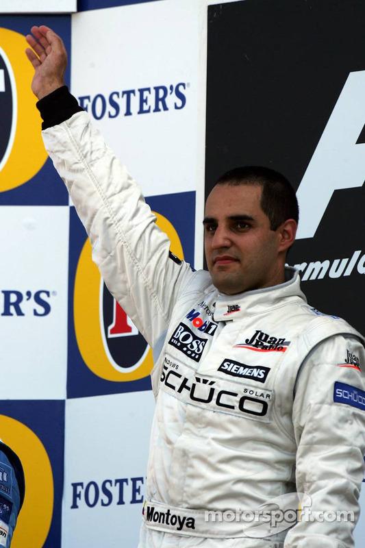 Podio: ganador de la carrera Juan Pablo Montoya