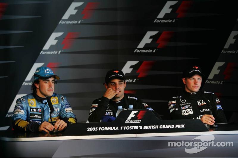 Conferencia de prensa: ganador del a carrera Juan Pablo Montoya con Fernando Alonso y Kimi Raikkonen