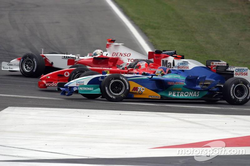 Jarno Trulli, Rubens Barrichello y Jacques Villeneuve