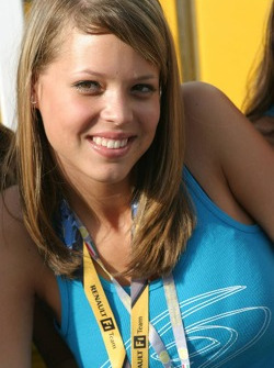 A Renault girl at the new Renault F1 hospitality area