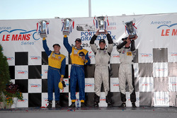 P2 podium: Clint Field and Gregor Fisken, with Jamie Bach and Guy Cosmo