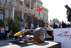 David Coulthard drives the Red Bull Racing car in the streets of Istanbul