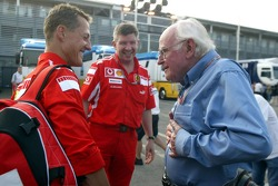 Michael Schumacher discusses with Prof Sid Watkins