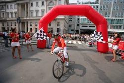 Vodafone race event in Milan: Rubens Barrichello rides a mountain bike