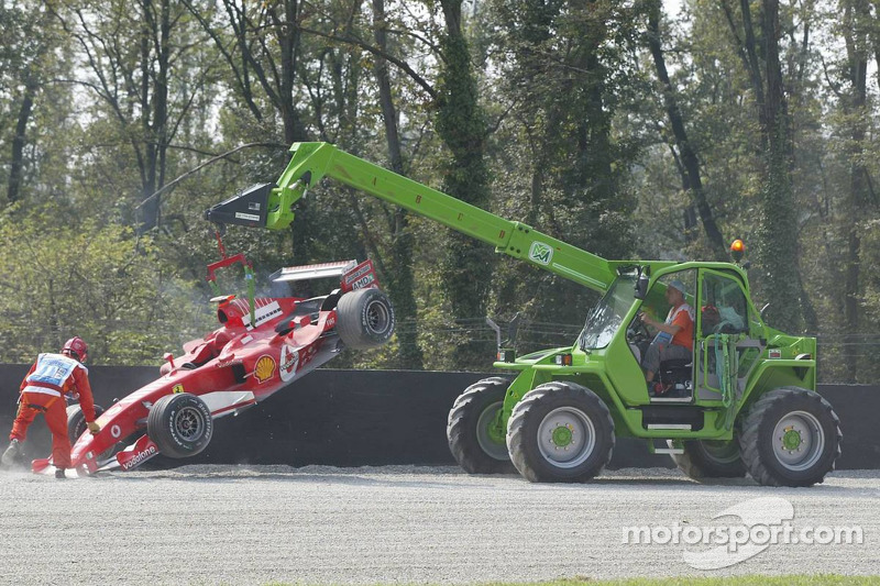 Michael Schumacher after his spin at the Parabolica