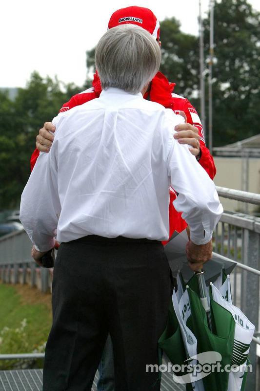Bernie Ecclestone and Rubens Barrichello