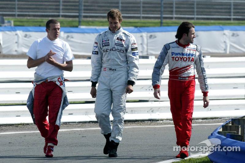 Olivier Panis, Alexander Wurz and Ricardo Zonta