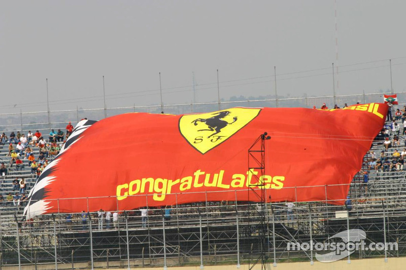 A giant Ferrari flag