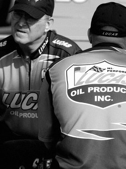 Lucas Oil Chevy crew members get ready for the race