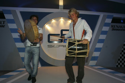 Nico Rosberg and Giorgio Pantano play drums