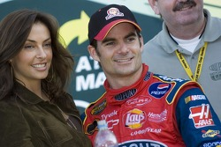 Jeff Gordon celebrates his victory