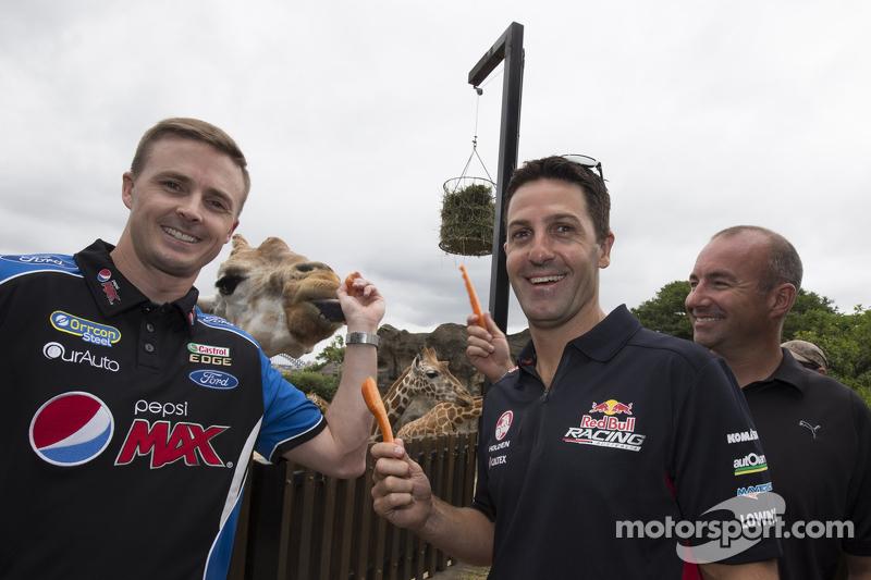 Mark Winterbottom, FÜR, Ford; Jamie Whincup, Red Bull, Holden, und Marcos Ambrose, Team Penske, Ford