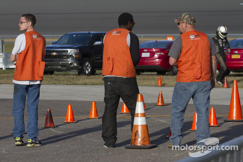 Officials waiting for a driver swap