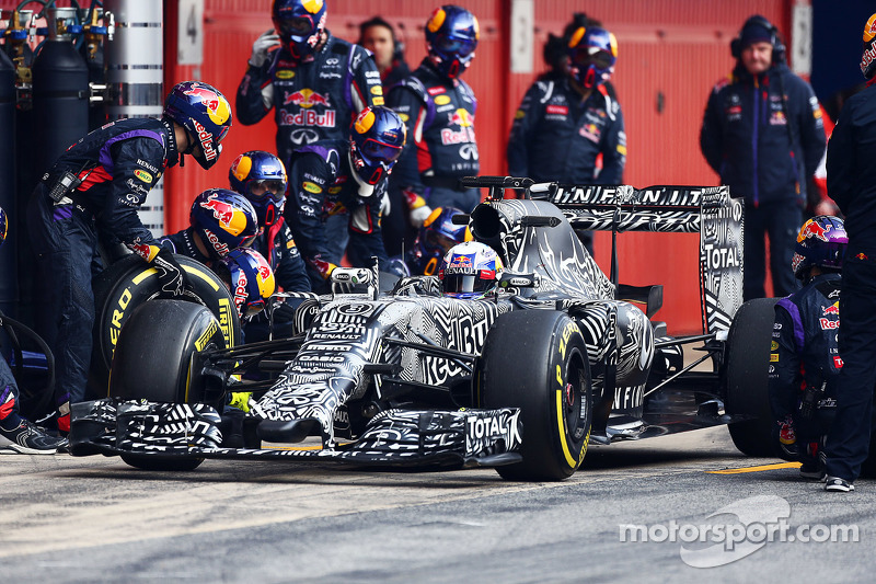 Daniel Ricciardo, Red Bull Racing RB11, bei einem Trainingsstopp